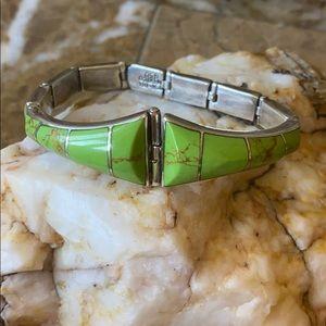 Gaspeite Mexican Silver Bracelet